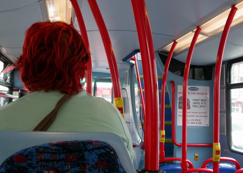 050 Red Head on Bus